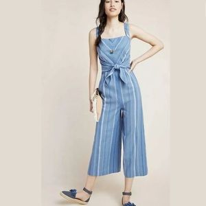 New Anthropologie Laguna Striped Blue Jumpsuit